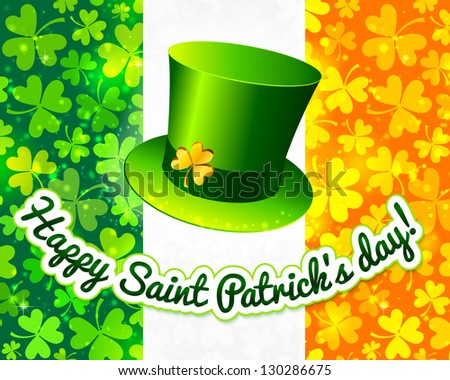 Saint Patrick's hat on Irish flag made from lucky magic clovers. Raster illustration. Vector version also exist. - stock photo
