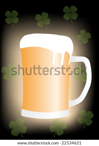 Saint Patricks Day Beer mug with four leaf clovers - Raster Illustration