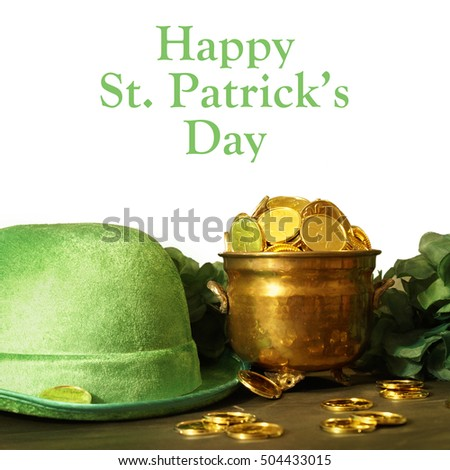 Saint Patricks day hat and pot of gold for the festive Irish celebrations.