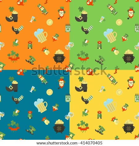 Saint Patricks Day Seamless Pattern. Four Background in Different Colors. . Clean Work Minimum Points - stock photo