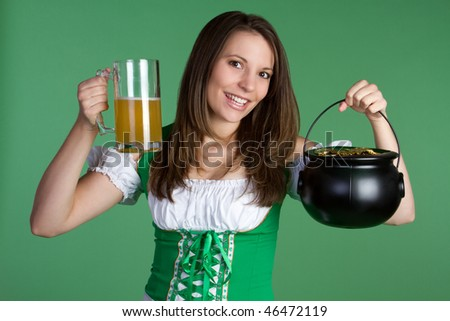 Saint Patricks Day Woman - stock photo