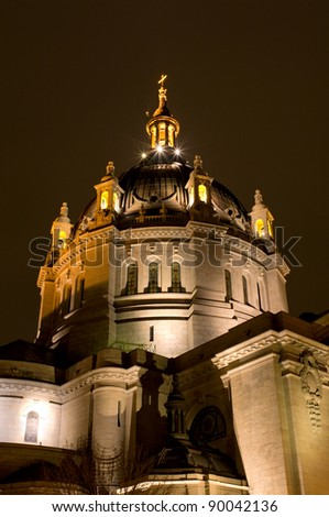 Saint Paul Cathedral illuminated at night in downtown Saint Paul Minnesota - stock photo