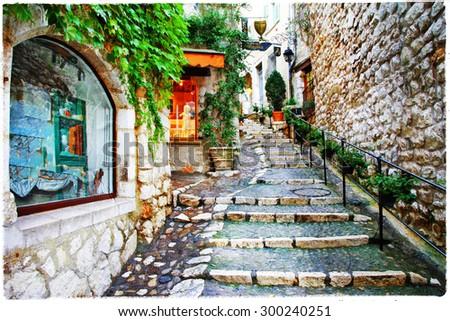 Saint-Paul de Vence- charming village in Provence, France. artis - stock photo