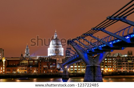 Saint Paul's Cathedral at night, London, UK - stock photo