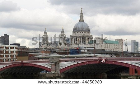 Saint Paul's Cathedral in the City of London, UK - (16:9 ratio) - stock photo