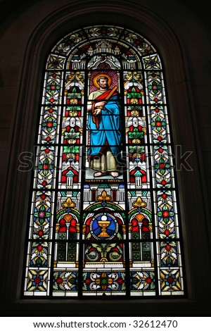 Saint Paul the Apostle. Stained glass in Christchurch Cathedral of Blessed Sacrament. New Zealand.
