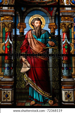 Saint Paul the Apostle. Stained glass window in the German Church in Gamla Stan, Stockholm. - stock photo