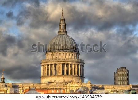 Saint Pauls Cathedral in London, UK in the light of the setting sun
