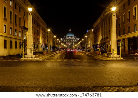 Saint Peter Basilica and Vatican City in the Night, Rome, Italy