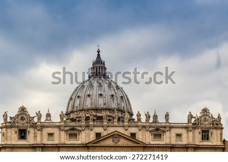 Saint Peter, Basilica in Vatican City: dome and facade - stock photo