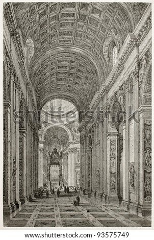 Saint-Peter basilica interior, Rome. Created by Clerget after photo of unknown author, published on Le Tour du Monde, Paris, 1867 - stock photo