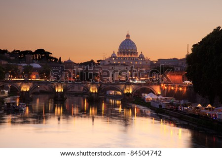 Saint Peter cathedral, vatican, rome, italy, at dusk with beautiful evening light, reflected in the river tiber - stock photo