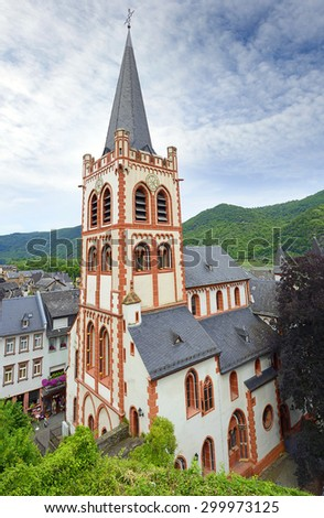 Saint Peter, Evangelical Church of Bacharach. Bacharach is a town in the Mainz-Bingen district in Rhineland-Palatinate, Germany. Rhine Valley is UNESCO World Heritage Site - stock photo