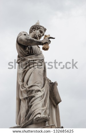 Saint Peter holding the key to heaven Saint Peters square in the Vatican Rome Italy - stock photo