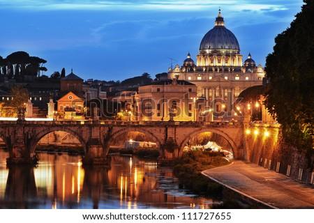 Saint Peter's basilica at night, Vatican City - stock photo