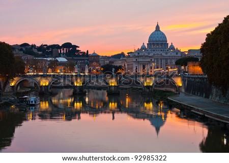 Saint Peter's Basilica at sunset. - stock photo