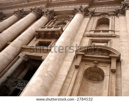 Saint Peter's Basilica front on Vatican City (Rome - Italy) - stock photo