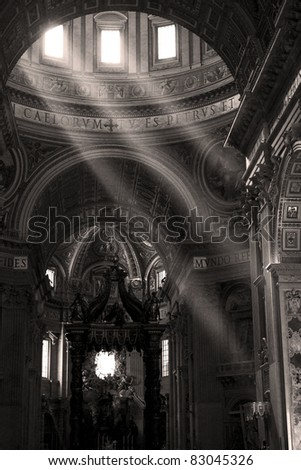 Saint Peter's basilica interior in Vatican - stock photo