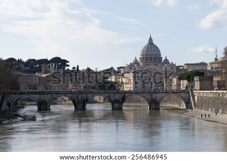 Saint Peter's Basilica view from the famous Ponte Umberto over the River Tiber near the Sant Angelo.