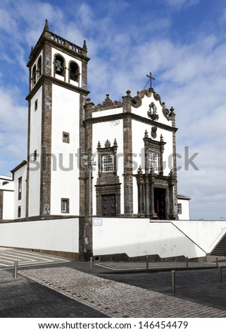 Saint Peter's church at downtown of Ponta Delgada on the island of Sao Miguel, Azores - stock photo