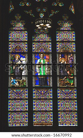 Saint Peter Stained Glass Long Saint Patrick's Cathedral New York Stained glass was made in the 1800s in Chartes, France