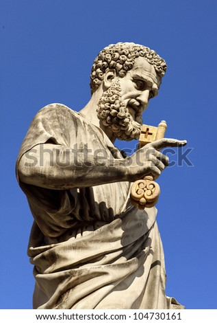 Saint Peter statue in homonymous square, Vatican city, Rome - stock photo