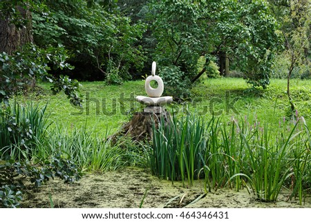 Saint Petersburg, August 5, 2016: modern abstract sculpture in the Botanical garden