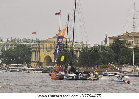 SAINT PETERSBURG - JUNE 27 : A participating yacht parades at Neva River during Volvo Ocean Race 2008-2009 June 27, 2009 in Saint Petersburg, Russia.