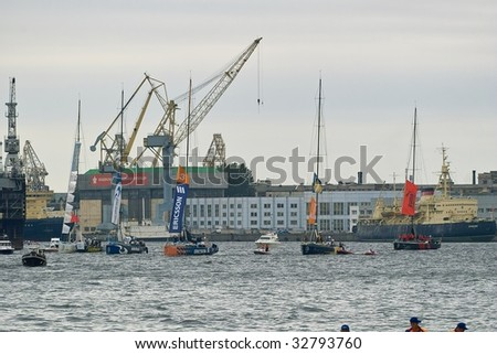 SAINT PETERSBURG - JUNE 27 : Participating yachts parade at Neva River during Volvo Ocean Race 2008-2009 June 27, 2009 in Saint Petersburg, Russia.