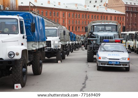 SAINT-PETERSBURG - May 5: Military vehicle for soldiers during rehearsal for the upcoming celebration of 66th Anniversary of Victory Day near St. Isaac's Cathedral on May 5, 2011 in Saint-Petersburg, Russia