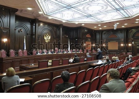 SAINT-PETERSBURG - OCT 9: Constitutional Court of the Russian Federation in session in Saint-Petersburg, Russia on October 9, 2008. The court consists of 19 judges, 1 chairman and 1 deputy chairman.