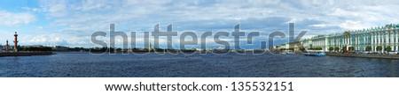 Saint-Petersburg Panorama. Vasilevsky island, Peter and Paul Fortress, Hermitage. - stock photo