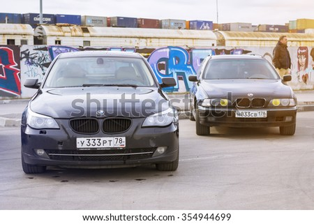 SAINT-PETERSBURG, RUSSIA - APRIL 5, 2014: Old-car BMW 5-series e60 at the meeting fans of the Bavarian automaker, St. Petersburg, Russia - stock photo