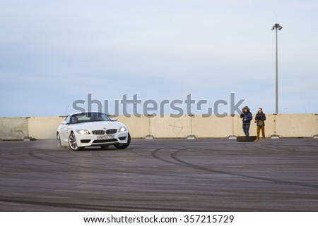 SAINT-PETERSBURG, RUSSIA - APRIL 5, 2014: roadster-car BMW z4 to drift at the meeting fans of the Bavarian automaker, St. Petersburg, Russia - stock photo