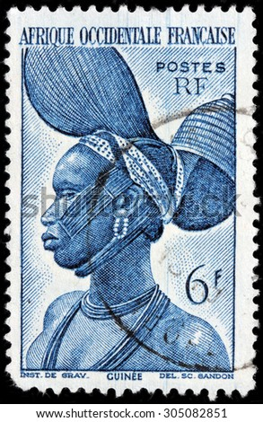 SAINT-PETERSBURG, RUSSIA - AUGUST 10, 2015: A stamp printed by FRENCH WEST AFRICA shows image portrait of Fulas Woman from French Guinea, circa June, 1947. - stock photo