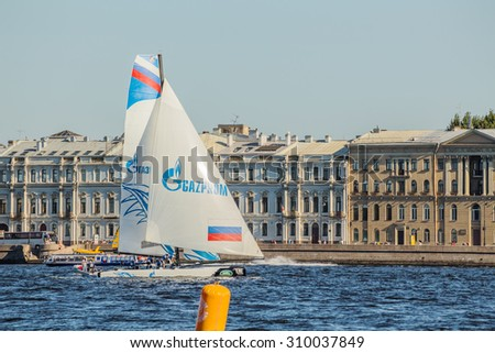 SAINT-PETERSBURG, RUSSIA - AUGUST 23, 2015: Gazprom Team Russia at Extreme Sailing Series Act 6 catamarans race on 20th-23th august 2015 in St. Petersburg, Russia - stock photo