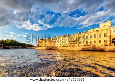 Saint Petersburg/Russia - August 13, 2015: House on the embankment of Fontanka River - stock photo