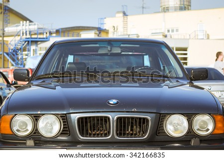 SAINT-PETERSBURG, RUSSIA - AUGUST 3, 2013: Old-car BMW 5-series e34 at the meeting, fans of the Bavarian automaker, Krestovsky island, St. Petersburg