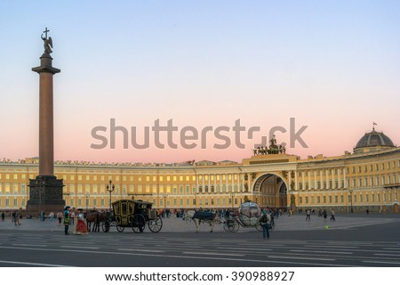 SAINT PETERSBURG, RUSSIA, - AUGUST 16, 2015: Palace square with Alexander column on the sunset.