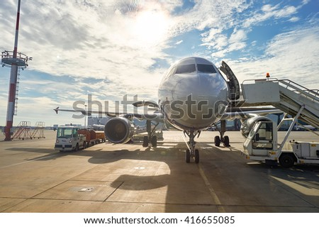SAINT PETERSBURG, RUSSIA - AUGUST 04, 2015: Rossiya Airlines aircraft in Pulkovo Airport. Rossiya Airlines JSC, operating as Rossiya - Russian Airlines is airline with head office in Saint Petersburg