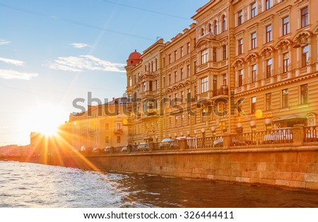 Saint Petersburg/Russia - August 13, 2015: The house on the embankment of Griboyedov Canal in sunset time