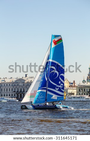 SAINT-PETERSBURG, RUSSIA - AUGUST 21, 2015: The Wave, Muscat (OMAN) yacht - the winner of Extreme Sailing Series Act 6 catamarans race on 20th-23th August 2015 in St. Petersburg, Russia - stock photo