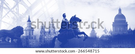 Saint Petersburg Russia city skyline silhouette, symbols of the city, collage - stock photo