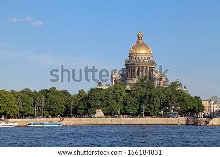 Saint Petersburg, Russia, English Embankment and Saint Isaac's Cathedral (Isaakievskiy Sobor). Built in 1858 under the project of architect Auguste de Montferrand