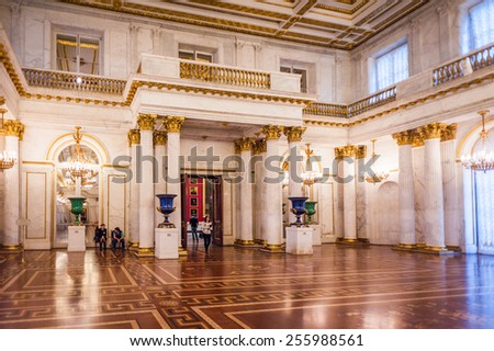 SAINT PETERSBURG, RUSSIA - FEB 24, 2015: Halls of the State Hermitage, a museum of art and culture in Saint Petersburg, Russia. It was founded in 1764 by Catherine the Great