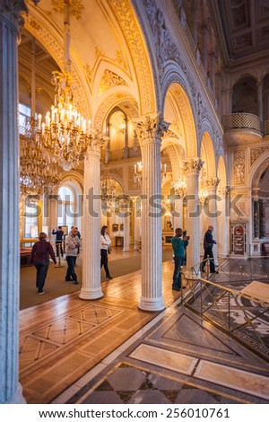 SAINT PETERSBURG, RUSSIA - FEB 24, 2015: One of the sections of the State Hermitage, a museum of art and culture in Saint Petersburg, Russia. It was founded in 1764 by Catherine the Great