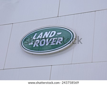 SAINT-PETERSBURG, RUSSIA - January 13, 2015: company logo Land Rover at the Auto Show. The body of the first production model was made of a special aluminum alloy, excellent resist corrosion. - stock photo