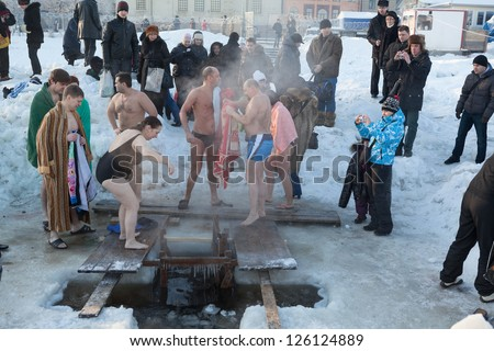 SAINT-PETERSBURG, RUSSIA-JANUARY 19: Mass Dipping In Cold