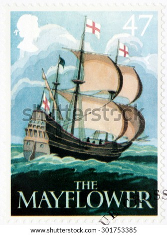 SAINT-PETERSBURG, RUSSIA - JULY 14, 2015: A stamp printed by GREAT BRITAIN shows image of The Mayflower ship - one of the ancient British Pub Signs, circa August, 2003. - stock photo