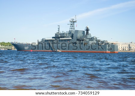 "SAINT-PETERSBURG, RUSSIA - JULY 27, 2017: Large amphibious ship ""Minsk"" at the Palace embankment. Navy Day in St. Petersburg"